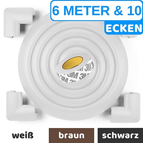 Premium Kantenschutz von BEARTOP™ - weiß, schwarz, braun - sehr starker Kleber für dauerhaften Schutz - für Tische, Arbeitsplatten, Kommoden usw. - aus weichem Schaumstoff -100{5fcf4e42ac14bf7837f4a614bf0720738d40e00176a0e0dd7282879994eb65d8} ZUFRIEDENHEITSGARANTIE