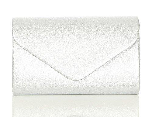 malito Damen Clutch | Abendtasche mit Kette | Unterarmtasche | Handtasche - Citybag - Tasche T400 (silber) (Tasche Logo-muster-leder)