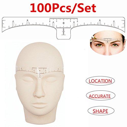 Augenbraue Lineal, 100 pcs Einweg Augenbraue-Lineal Blätter Sticker für Permanent Make-up Schablonen Augenbrauen Microblading Schablone für Augenbrauen Einweg-Tattoo-Aufkleber Positioniert