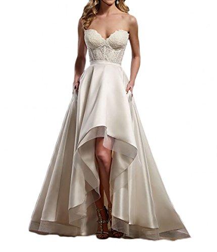 La_Marie Braut Elfenbein Satin Spitze Hi-lo Hochzeitskleider Brautkleider Brautmode Lang A-Linie Rock-48 Elfenbein (Brautkleid High Low Weißes)