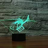 3D Nuit Hélicoptère LED Lampes Art Déco Lampe la couleur changeant lumières LED, Décoration Décoration Maison Enfants Meilleur cadeau, Lumière Touch Control 7 couleurs Change
