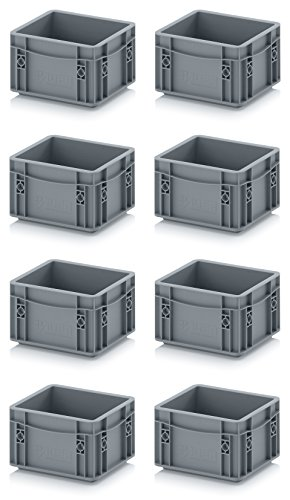 8x Eurobehälter-Eurobox 20 x 15 x 12 grau inkl. gratis Zollstock, 8er Set