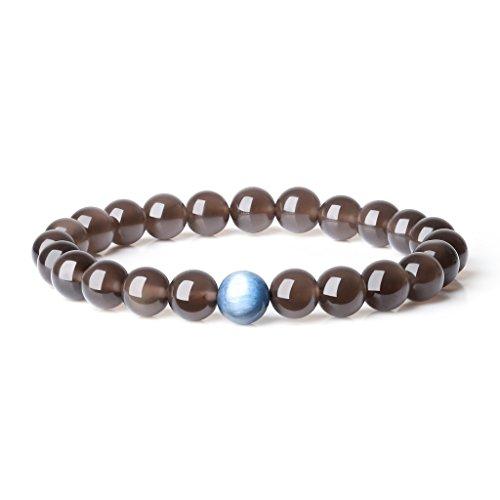 Coai bracciale unisex in perle mala per equilibrio energetico in ossidiana ghiaccio e cianite