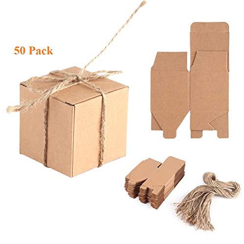 Yosoo 50pz scatola di carta kraft bomboniere vintage scatoline candy scatole regalo con corda canapa,per compleanno feste di nascita e matrimonio decorativo