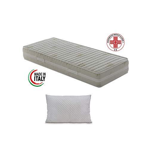 Materassimemory.eu - materasso memory singolo top air 80x190 alto 25 cm detraibile con 7 zone differenziate rivestimento aloe vera cuscino in omaggio traspirante anti acaro made in italy