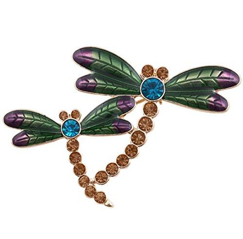 Kostüm Schmuck Libelle (Frauen Diamant - besetzte große Libelle Insekt Brosche Legierung grüne Schal Deduktion Bankett Kleidung Zubehör)