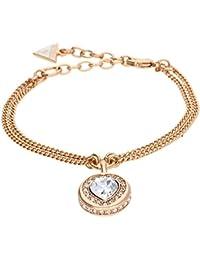 Guess Damen-Armband Herz Messing Glas weiß 19.0 cm - UBB21536-S