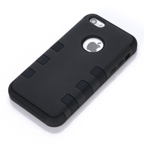 Osurce Coque pour iPhone 5C protection complète hybride et souple en silicone résistant avec intérieur rigide antichocs Noir