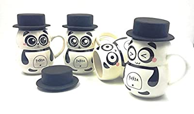 Satyam Kraft (Pack of 1) Panda Ceramic Mug with Silicon Lid for Kids,Diwali Gift,Gift -300 ML(Random Design)