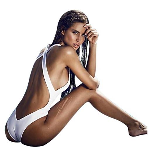 Ba/ñadores Deportivas Mujer L, Blanco Xinan Backless Jumpsuit Padded Push-up Bikini One-piece Swimsuit