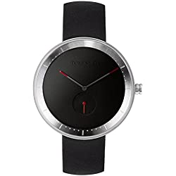 Domeni Co BLL01 Unisex Signature Series Stainless Steel Black leather Strap Band Black Dial Watch