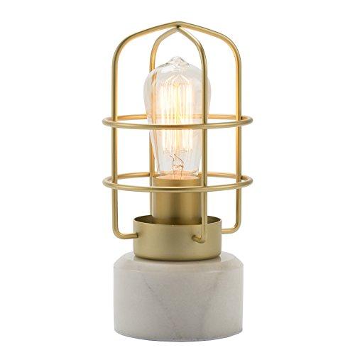 CO-Z Tischlampe Tischleuchte Beleuchtung Nachttischlampe Vintage mit Marmorsockel Metall E27 Messing industriell antik Glühbirne Wohnzimmerlampe Modern Cage Table Lamp