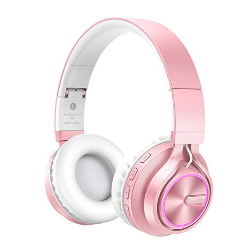 Telefon Wireless Mic (Bluetooth Kopfhörer Over Ear,KINGCOO Tiefer Faltbarer Stereo Verdrahteter/über Ohr Wireless Kopfhörer mit TF-Modus für Telefon PC,Bluetooth 4.1 Drahtlose Kopfhörer mit Mic (Roségold))