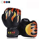 Luniquz Kinder Boxhandschuhe mit Klettschluss Klein Box-Handschuhe für Kinder von 3 - 10 Jahre Training Gloves 6 Unzen zum MMA, Muay Thai, Kickboxen und Sandsack sport - schwarz