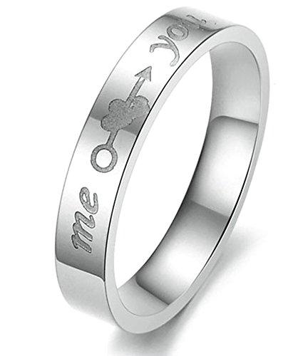 SanJiu Schmuck Damen Ringe Edelstahl Ring Ich Liebe Dich Eheringe Trauringe Verlobungsringe Verlobung Ringe Band für Damen Weiß Größe 52 (16.6)