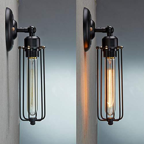 Antik Vintage Wandleuchte Wandlampe Eisen Gehäuse Industrie Nostalgie mit E27 60W Glühlampe Lampe (60-watt-industrie-lampe)