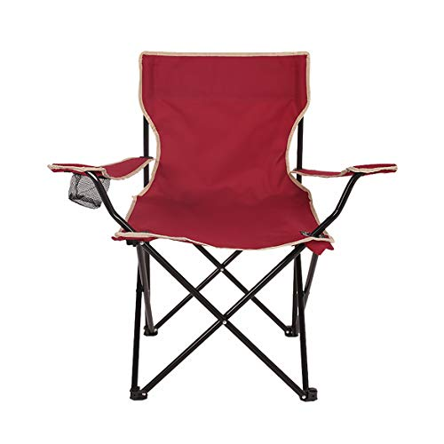 BFQY FH Chaise Pliante Extérieure, Accoudoir Multifonctionnel, Chaise De Pêche, Chaise De Plage Décontractée pour Barbecue, Trois Couleurs en Option (44 × 44 × 80 Cm) (Couleur : Vin Rouge)