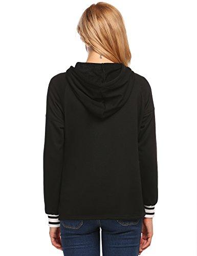 Meaneor Damen Casual Hoodie Langarm Loose Fit Sweatshirt Pullover mit Kängurutasche Herbst/Frühling Schwarz