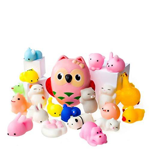 Mochi Squishy Spielzeug - Packung Mit 20 Squishies Plus 1 Jumbo Squishy - Sanfte Aufgehende Eule Squishy - Mochi Squishy Tiere, Katze, Panda - Kawaii Squishies Jumbo - Schlüsselanhänger Squishys -