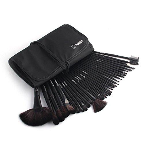 Smileq 32 pcs professionnel souple Cosmétique sourcils Ombre Lot de Outil de brosse de maquillage Sac, noir