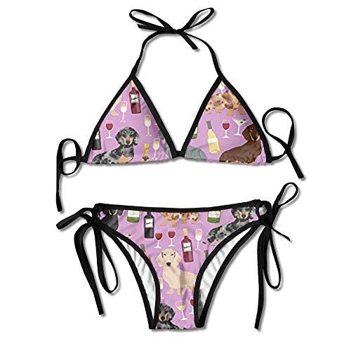 4c5ebe77d7 Osmykqe Womens Sexy Bikini Sets Bathing Swimsuits Tie Back Dachshund Wine  Flower Print