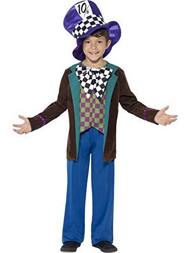 Luxuspiraten - Jungen Kinder Mad Hatter Kostüm Deluxe mit Hose, Jacket und Hut, perfekt für Karneval, Fasching und Fastnacht, 122-134, Blau