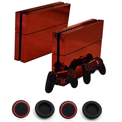 Sticker superb Décalques Protection Autocollant Coloré Peau Brillante Décalque Plaques frontales pour Playstation 4 PS4 Console et Contrôleurs et 4 Pièces Capuchon de Pouce (Rouge)