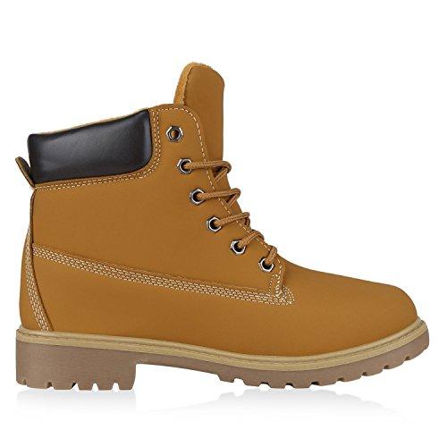 napoli-fashion Damen Herren Schuhe Kinder Schuhe Stiefeletten Worker Boots Outdoorschuhe Schnürstiefel VanHill Hellbraun Marrone