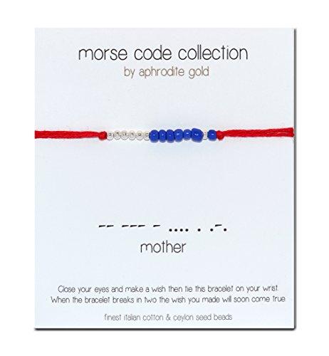 Codice Morse braccialetto portafortuna rosso stringa Bracciale Madreperla