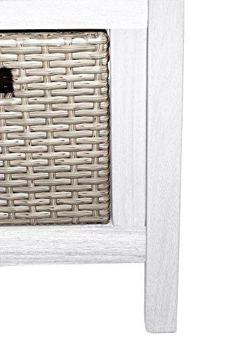 SAM® Gartenbank Flora aus Akazie, weiß lackiert, inklusive 3 x Polyrattan-Korb, Garten-Möbel aus Holz, 121 x 60 cm, FSC® 100% zertifiziert, massive Holzbank, pflegeleichtes Unikat - 3
