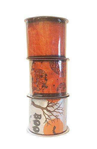 Trick or Treat Kürbisse und durchsichtiges Orange glitzerndes Bündel mit drei Halloween-Motiven