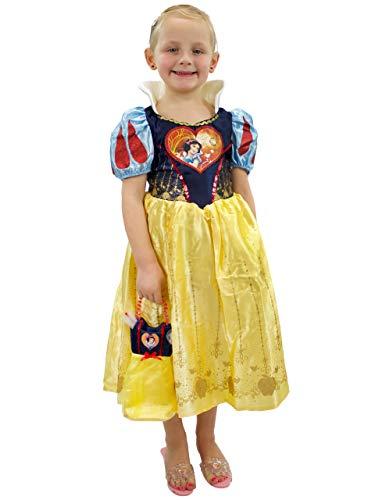 Disney Mädchen Schneewittchen Kostüm Kleid und Tasche Gelb ()