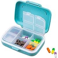 Preisvergleich für Sumferkyh Reise-Pillenhalter für 7 Tage, Tabletten-Planer, 2 Stück Leicht zu öffnen Blue+Brown