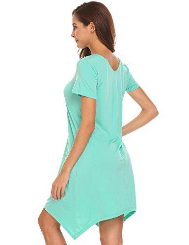 Keelied Damen V-Ausschnitt Nachthemd Kurzarm Schlafkleid Einfarbig Nachtkleid Basic Sleepshirt Unregelmäßige Nachtwäsche Grün