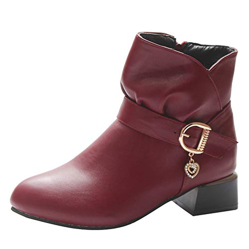 MOIKA Damen Boots Mode Frauen Platz Ferse Schnalle Leder Reißverschluss Damen Stiefel Schuhe Ankle Boot Winter Schuhe(230/37,Rot)