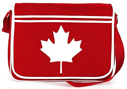 Shirtstreet24, CANADA/KANADA, Länder Retro Messenger Bag Kuriertasche Umhängetasche Rot