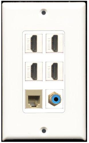 RiteAV-4-Port HDMI-1RCA blau 1RJ11, RJ12, beige Wall Plate Dekorative 4 Port, Single Gang Keystone