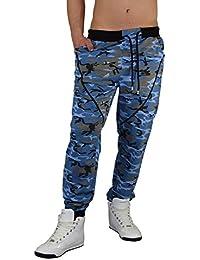 Gorilla-Star starke Herren Camouflage-Sporthose Jogginghose Freizeithose mit angesagten Details in Neon-Grün Neon-Pink und Blau Größe M-XXL