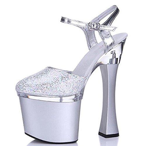 W&LMpaillettes Baotou sandali Spessore inferiore Scarpe Ruvido con Piattaforma impermeabile Tacchi alti Scarpe modello Scarpe da lavoro Scarpe da banchetto Silver