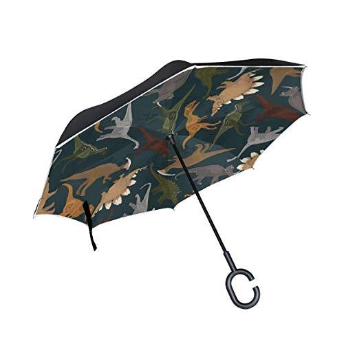 HYJDZKJY Double Layer Inverted Umbrellas Reverse Taschenschirm Dinosaurier Winddicht für Auto Regen im Freien mit C-förmigen Griff