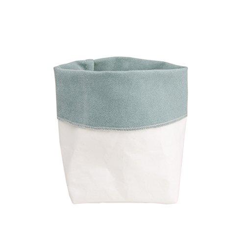 Soft Bag Utensilo Übertopf Aufbewahrung Tasche Blau - aus Baumwolle und Cellulose (M) (Baumwolle-zwei-ton-taschen)