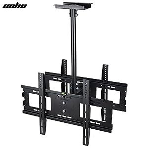 UNHO Support TV Réglable et Télescopique Fixation Écran au Plafond pour Double 32