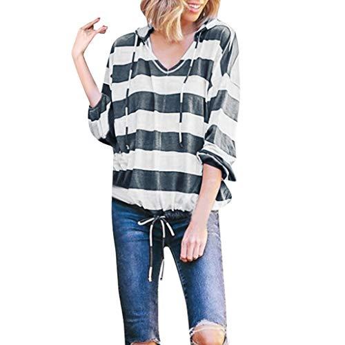 Sanahy Damen Kapuzenpullover Ladies Sleeveless Jersey Hoodie, leichtes Streifen Ärmel T-Shirt mit Kapuze top Blusen