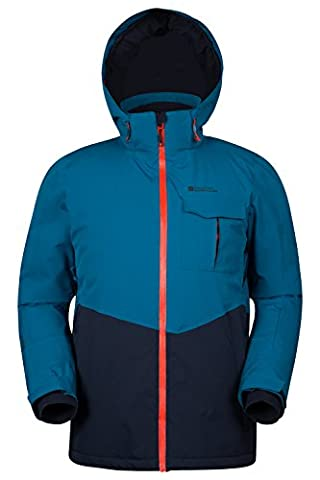 Mountain Warehouse Atmosphere Extreme Men's Ski Jacket - Waterproof, Taped Seams, Breathable IsoDry Fabric with RECCO Reflectors & Detachable Snow Skirt Navy Small