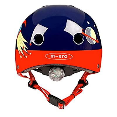 Micro Childrens Deluxe Helmet Retro Rocket Medium 53-57Cm Boys Scooting Bike Skating Safety Acessory from Micro