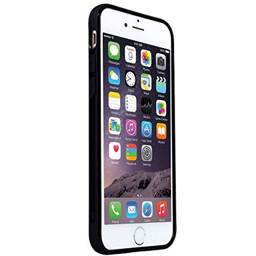 GrandEver Coque iPhone 6 / iPhone 6s Silicone Bordeaux Carbone Flexible Doux TPU Couleur Unie Ultra Fine Mince Housse de Protection Case Etui pour iPhone 6 / iPhone 6s Noir