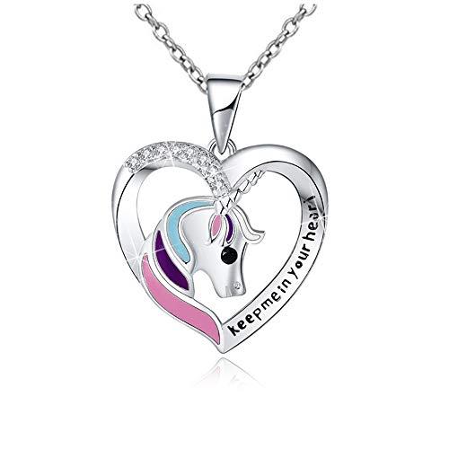 """925 Silber Einhorn Halskette Geschenke Geschenke Herz Geformte Anhänger Schmuck für Frauen Teen Mädchen Kind \""""Keep me in Your Heart\"""" Mit Einhorn Jewerly Geschenkbox"""