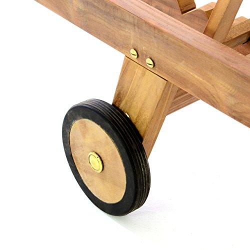 Divero GL05654 Sonnenliege Gartenliege Relaxliege Liege aus Teak Holz behandelt klappbar extra hohe Rückenlehne 5-Fach verstellbar, Braun