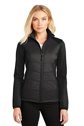 Port Authority® Ladies Hybrid Soft Shell Jacket. L787 Deep Black XS Hybrid Soft Shell Jacket