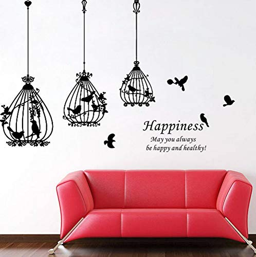 dcage Black Bird Flower Words Happiness Home Decal Wall Sticker Wedding Decoration Gift Stickers For Bedroom ()